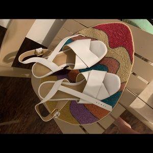 Michael Kors White Wedge Platform Leather 7.5 New